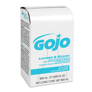 GOJO LATHER & KLEAN BODY & HAIR SHAMPOO REFILL, PLEASANTLY SCENTED, 800 ML