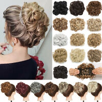 LARGE THICK Curly Wedding Chignon Messy Bun Updo Clip in Hair Piece Extension b1