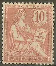 "FRANCE STAMP TIMBRE N°124 "" MOUCHON RETOUCHE 10c ROSE 1902 "" NEUF xx TTB B377"