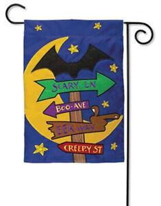 "Halloween Signs Applique Garden Flag Moon and Bat Scene 12.5"" x 18"""