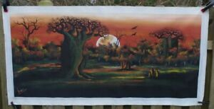 Beautiful LARGE 5 Foot Long Painting / Print on Canvas- SIGNED Isaac
