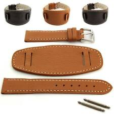Men's Genuine Leather Watch Strap Band Wrist Pad SS Buckle 18 20 22 24 MONTE MM