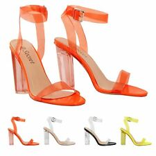 Womens Ladies Clear Perspex See Through Heel And Strappy Toe Sandals Party Shoes