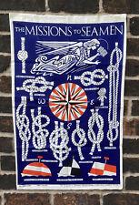 More details for vintage pure linen the missions to seamen retro tea towel