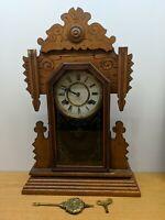 "Works! Vintage Antique Kitchen Gingerbread ATTLEBORO ""AMERICUS"" Oak Mantel Clock"