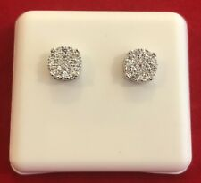 Men Women's 14K White Gold Tone CLUSTER Screw Back Earring Simulated Lab Diamond