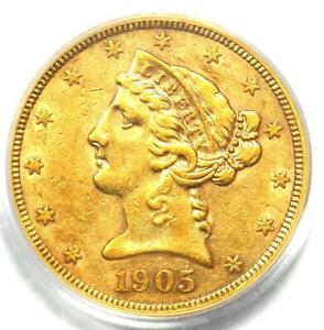 1905-S Liberty Gold Half Eagle $5 Coin - Certified PCGS XF45 (EF45) - Rare Coin!