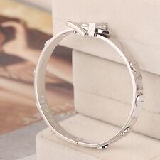 Michael Kors Silver Stud Astor Belt Buckle Bangle Bracelet MKJ1820040 w/Gift Box