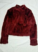 Costume National Luxe Red Fur Leather Keyhole Cropped Sweater 40 XS S NWOT$1099