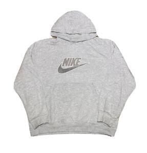 Vintage 2000s Nike Silver Tag Symbol Logo Graphic Gray Hoodie Sweatshirt size L