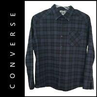 Converse Men Button Down Plaid & Check Dress Shirt Size Extra Large Blue