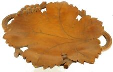 Rare! Vintage Carved Wood Grapes Leaves Walnut Reuge Music Box 1960's Compote