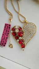Betsey Johnson fashion jewelry Cute Red Crystal heart pendant necklace #F445L