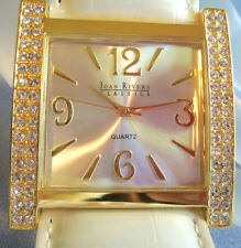 JOAN RIVERS LARGE CLASSIC COLLECTION WHITE & GOLD WATCH ESTATE JEWELRY VINTAGE