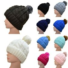 Winter Beanie Bobble Hat Warm Fleece Liner Large Faux Fur Pom Pom Ladies Womens