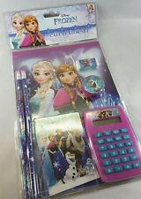 Lot of 2 Disney Frozen Elsa Anna Olaf 7 piece Stationery Set & Elsa Frozen Bag