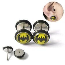 Earring Fake Tunnel Batman Superhero O Seal Black On Yellow Stud Bat Logo 18g
