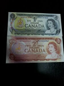 🇨🇦 Canada 1 dollar 1973 P-85  & 2 dollars 1974  P-86 Currency Banknote UNC (D)