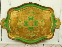 Italy Hollywood Regency Florentine Wood Tole Serving Tray Gold Gilt Green 16x13