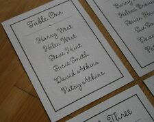 Personalised Wedding Table Seating Plan Cards Individual Cards with Diamante