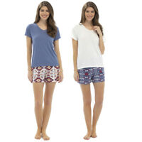 LADIES AZTEC SHORTS & TOP PJ SET NIGHT WEAR BEIGE BLUE SIZES 8-10 12-14 16-18