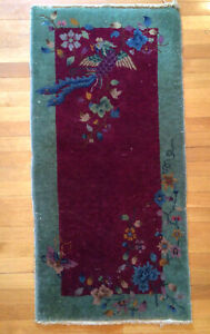 """Antique Art Deco Chinese Rug Phoenix Butterfly Flower 47.5""""x 23"""""""