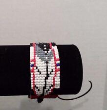 Beaded Native Regalia Afghanistan Eagle Feather service ribbon Veteran bracelet