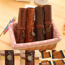 Vintage Retro Treasure Map Luxury Roll Leather Cosmetic Pencil Case Box
