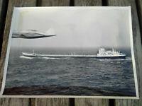Exploration pétroliere TOTAL années 50-60 photo grand format avion et petrolier