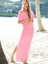 NWT Victoria's Secret Pink Jersey Off The Shoulder Maxi Dress with Side Split L