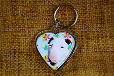 Bull Terrier English, Dog Gift Keyring Dog Key Ring heart Birthday gift