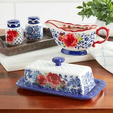New listing The Pioneer Woman Frontier Rose Design Butter Dish Gravy Boat Salt & Pepper Set