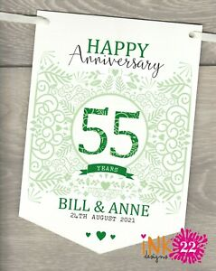 Personalised 55th Wedding Anniversary Emerald Party Decoration Banner Bunting