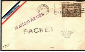 CANADA Cover BAHAMAS Nassau PAQUEBOT Unusual *PACKET* USA New York 1929 Q83a