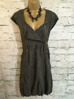 Masai Clothing Ladies Black Khaki Striped Bubble Lagenlook Dress M UK 12/14