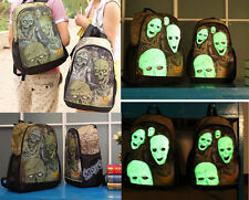 Denim Unisex Terror Zombie Luminous Face School Student Canvas Backpack Bag New