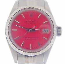Rolex Datejust Lady Stainless Steel Watch Oval Link Jubilee Band Pink Dial 6916