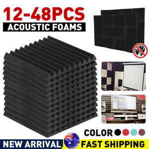 12/24/36/48PCS Studio Acoustic Foam Sound Absorbtion Proofing Panels Tiles Wedge