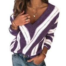 Plus Size Womens V-Neck Striped Knitted Sweater Long Sleeve Jumper Tops Knitwear