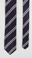 Eterna - Purple/Grey Striped Silk Tie - One Size - *NEW WITH TAGS* RRP £25