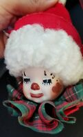 Vintage Jester Ornament Ceramic Face red green white tree Christmas ornament