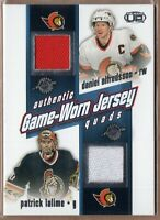 DANIEL ALFREDSSON MARIAN HOSSA HAVLAT LALIME 2002 Pacific HEADS UP GAME JERSEY !