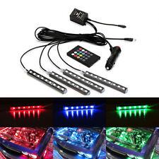 4X RGB 7Color LED Strips Light Engine Bay&Under Car Lighting Kit Wireless Remote