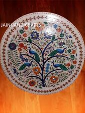 "20"" Marble table top Plate Inlay Pietra Dura Art Handmade peacockdeco malachite"