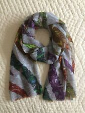 Pashma~Shawl~Wrap~Scarf~Stole~Silk Wool Blend~Oblong~Paisley Print~Gray~Multi