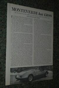 ★★1970 MONTEVERDI HAI 450 SS ORIGINAL FIRST LOOK ROAD TEST ARTICLE SPECS INFO 70