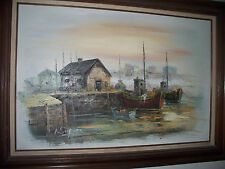 """VINTAGE FRAMED OIL PAINTING ON CANVAS SIGNED: A. SIMPSON, 44"""" X 32"""""""