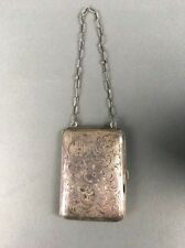 Antique EHE Sterling Embossed Sliver Dance Purse Compact 2 Coin Wallet