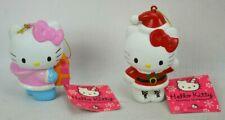 "Hello Kitty Christmas Ornaments Lot of 2 Santa Suit Pink Dress Kurt S Adler 4"""