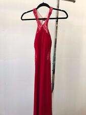 Rose Noir - Red Lace Evening Gown | Floral Jersey Backless | Size 6 | RRP: $300